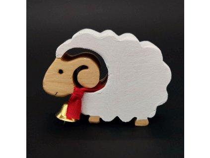 Dřevěná dekorace ovce bílá se zvonkem 6 cm