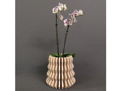 Dřevěný obal na květináč harmonika 2 masivní dřevo 22 x 22 cm
