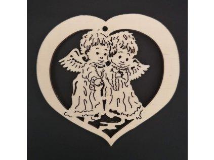 Dřevěná ozdoba srdce andělé 7 cm