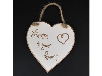 Dřevěné srdce s rytým textem - Listen to your heart, masivní dřevo, 16x15x1 cm