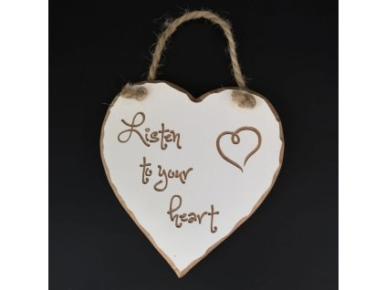 Dřevěné srdce s rytým textem - Listen to your heart