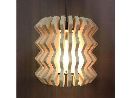 Dřevěná závěsná lampa harmonika, masivní dřevo, velikost 22 x 22 cm