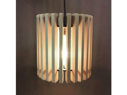 Dřevěná závěsná lampa válec, masivní dřevo, velikost 22 x 20 cm