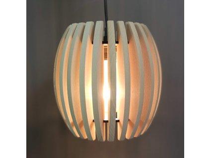 Dřevěná závěsná lampa sud, masivní dřevo, velikost 22 x 22 cm