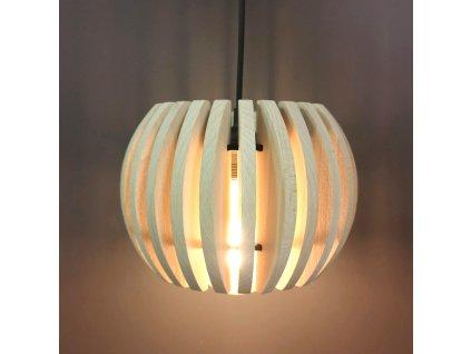Dřevěná závěsná lampa sud 2, masivní dřevo, velikost 22 x 16 cm