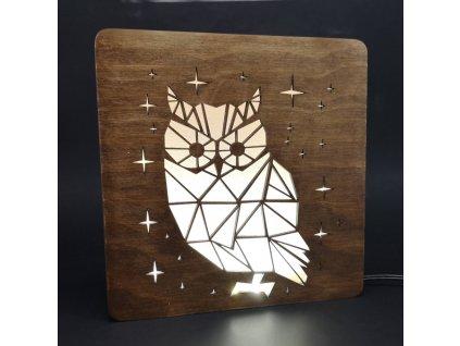 Dřevěná lampička s motivem sovy, velikost 20 cm, s LED osvětlením s trafem na 12V
