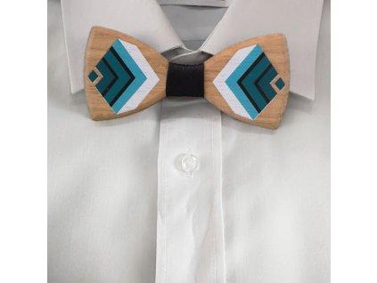 Dřevěný motýlek k obleku - tyrkysový 11 cm
