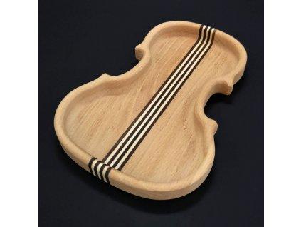 Dřevěná miska ve tvaru houslí se strunami, masivní dřevo, 14x20x2 cm