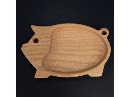 Dřevěná miska ve tvaru prasete
