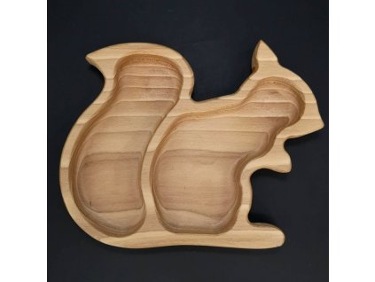 Dřevěná miska ve tvaru veverky, masivní dřevo, velikost 21,5x17 cm