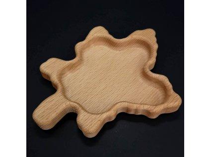 Dřevěná miska ve tvaru javorového listu, masivní dřevo, velikost 20x16 cm