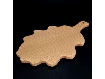 Dřevěné prkénko ve tvaru dubového listu, masivní dřevo, 27x15,5 cm
