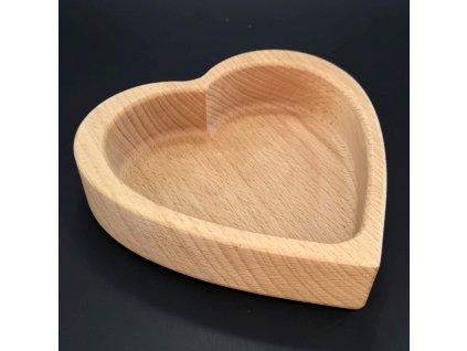 Dřevěná miska ve tvaru srdce, masivní dřevo, rozměr 13,5x13,5x4,5 cm
