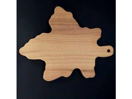 Dřevěné prkénko ve tvaru javorového listu, masivní dřevo, 35x25x2 cm