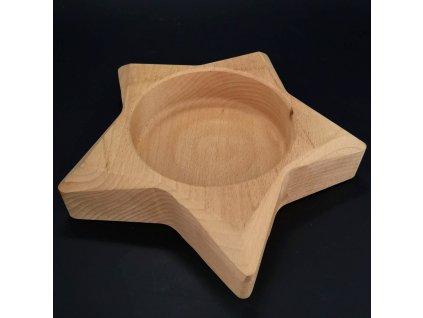 Dřevěná miska ve tvaru hvězdy, masivní dřevo, rozměr 23x23x4,5 cm