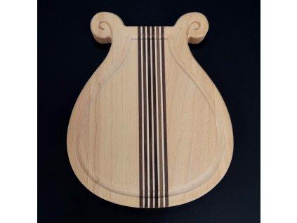 Dřevěné prkénko s drážkou ve tvaru lyry, masivní dřevo, 20x18x2 cm
