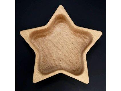 Dřevěná miska ve tvaru hvězdy, masivní dřevo, rozměr 21x21x4,5 cm