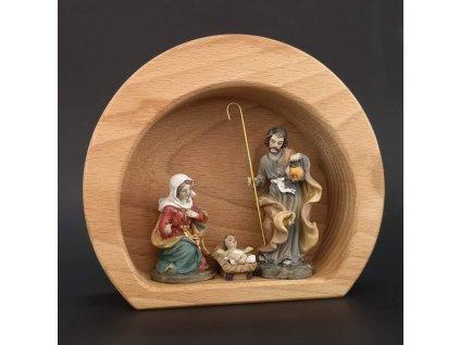 Dřevěný betlém ve tvaru polokoule s keramickými figurkami, masivní dřevo, 15x13x4,5