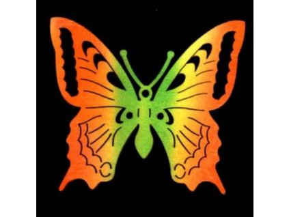 Dřevěná dekorace barevná motýl 8 cm