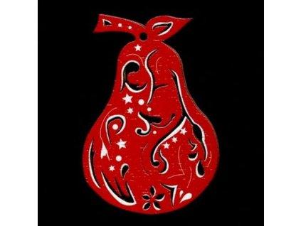 Dřevěná ozdoba červená hruška 6 cm