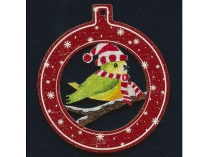 Dřevěná ozdoba barevná koule s ptáčkem 6 cm