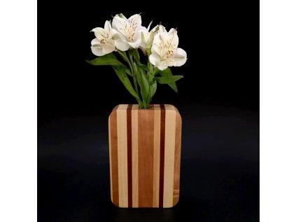 Dřevěná váza obdélníková, kombinace masivních dřevin, 18 cm