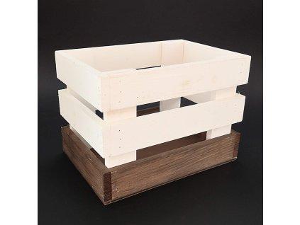 Dřevěná bedýnka z masivního dřeva dvoubarevná, 23x17x16 cm
