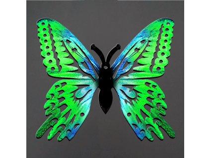 Dřevěná dekorace motýl zelený 6 cm