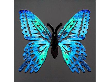Dřevěná dekorace motýl modrý 6 cm