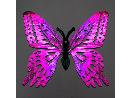Dřevěná dekorace motýl růžový 6 cm