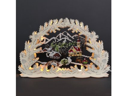 Dřevěný svítící portál s motivem vesničky, barevný, 53 cm