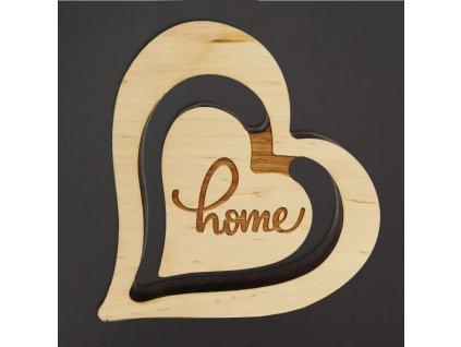 Dřevěná dekorace srdce dvojité Home, masivní dřevo, velikost 20 cm