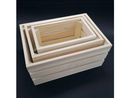 Dřevěné bedýnky - sada 3 bedýnek z masivního dřeva, 34x15x24 cm