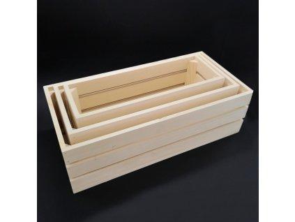 Dřevěné bedýnky - sada 3 bedýnek z masivního dřeva, 50x15x24 cm