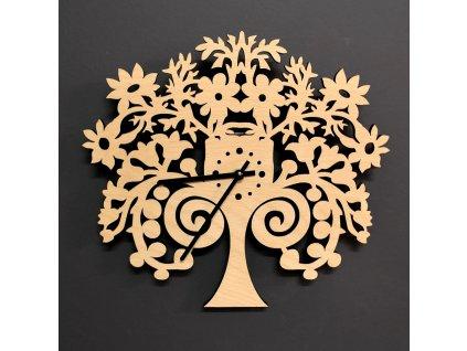 Dřevěné hodiny nástěnné ve tvaru stromu, průměr 30 cm