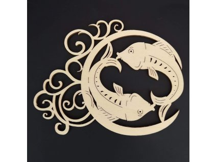 Dřevěná ozdoba - znamení ryby 13 cm
