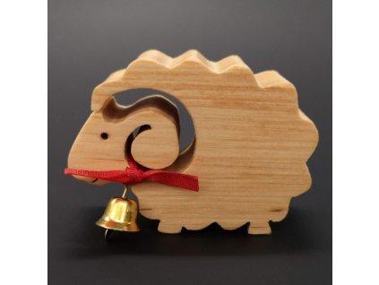 Dřevěná ovečka se zvonkem, masivní dřevo, 6x4,5x2 cm
