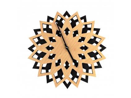 Dřevěné hodiny květ , kombinace dřevo/černá, průměr 30 cm