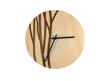 Dřevěné hodiny nástěnné kulaté se vzorem větvičky, masivní dřevo, průměr 25 cm