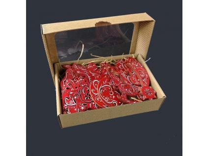 Dřevěné ozdoby - sada 20 ks dřevěných červených ozdob velikost 6 cm