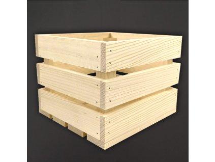Dřevěná bedýnka z masivního dřeva, 20x19x15,5 cm
