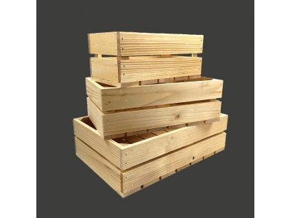 Dřevěné bedýnky - sada 3 bedýnek z masivního dřeva, 40x27x12 cm