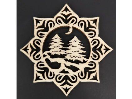 Dřevěná ozdoba hvězda se stromy 6 cm