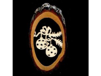 Dřevěná ozdoba s potiskem kůry - ovál s koulemi 6 cm