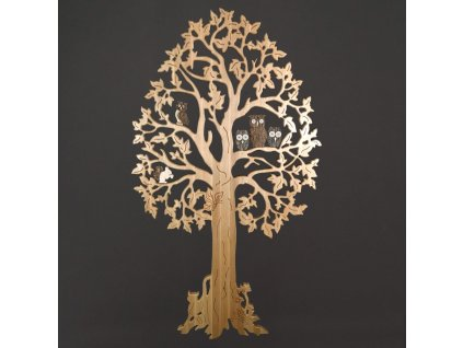 Maxi dekorace strom z masivu s kůrovými postavami 170 cm