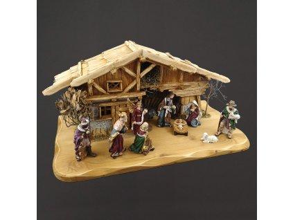 Dřevěný betlém s figurkami 54 cm