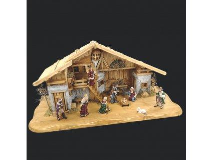 Dřevěný betlém s figurkami 80 cm