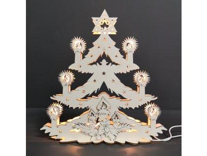 Dřevěný svítící portál vánoční stromek, 29x29x10 cm