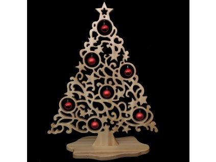 Dekorace vánoční strom na podstavci s koulemi 102 x 79 cm