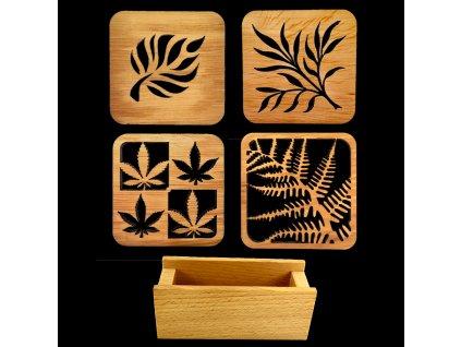 Sada pro stolování - stojánek na podtácky a čtyři různé podtácky z masivního dřeva